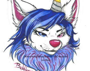 CUSTOM! Traditional Mini Copic Marker Keychain Fursuit badge - Comes laminated with attachment!