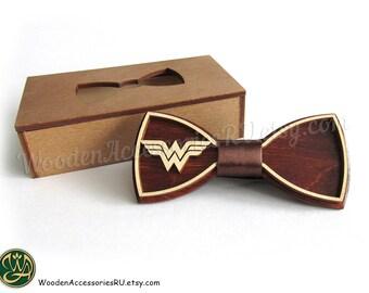 Wood bow tie Wonder Woman, wooden unisex accessory for comics fans