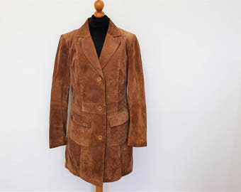 Brown Suede Coat Long Brown Suede Trench, Camel Brown Suede Military Jacket Hippie Boho Festival Size Medium