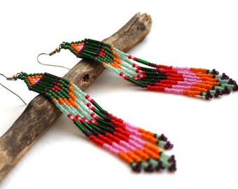 Boho earrings Bohemian earrings Seed bead earrings Long beaded earrings Fringe bead earrings Long dangle earrings Ethnic Hippie jewellery