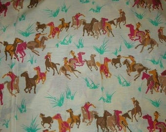 Novelty Western Cotton Blend Quilting Fabric Material with Wild Horse and Indians