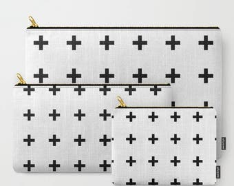 Black Swiss Cross / Cloud Pouches Carry-All Minimalist Scandinavian (small / medium / large)