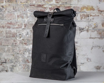 Waxed Canvas Rolltop backpack with black leather straps/  waterproof backpack, black leather backpack, cyclist backpack
