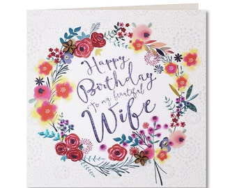 Chroma Collection - Wife Birthday Card - Happy birthday Wife - Birthday Card for Her - Birthday Greeting Card Wife - Happy Birthday - CH20