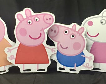 Peppa Pig Character Signs, Party Prop, Cut-outs, kids characters