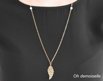 18K Gold-Filled Leaf and White Crystal Bead Necklace