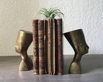 Vintage Brass Nefertiti Statue Bookends