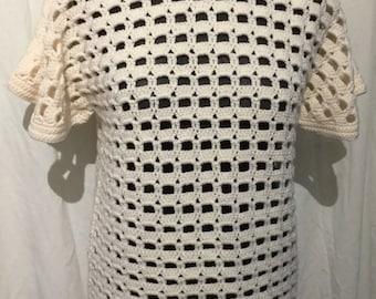 Open stitch hand made crochet tunic