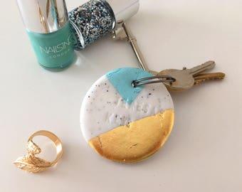 Oversized PERSONALISED Geometric Key Ring - Hand Made