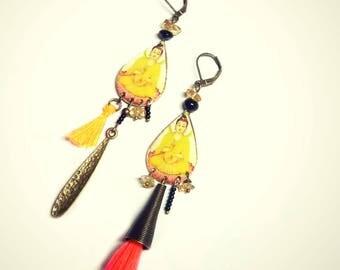 Asymmetrical earrings, piece unique hindu