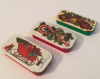 Vintage Potpourri Press pill tins christmas theme pill case slide out tin lip balm tins set of 3