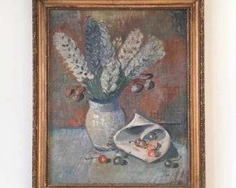 Vintage oil painting of delphiniums and cherries, original still life.