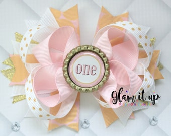 First birthday Hair bow-first birthday headband-1st birthday headband- 1st birthday hair bow-first birthday-pink and gold hair bow