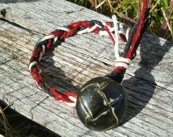 Braided button bracelet