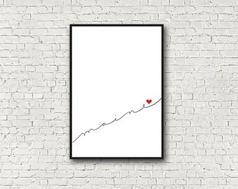 Minimalist Maine Wall Art,  Red, White, Black, Heart, Love, Maine Art Print, Modern, Wall Decor, Wall Gallery