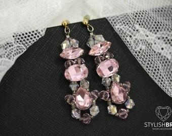Wedding Crystal Pink Earrings, Bridal Pink Earrings, Handmade Bridal Earrings, Handmade Pink Earrings, Wire Wedding Earrings