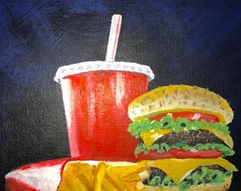 Cheeseburger, Fries, and a Drink- Take Out Collection - Acrylic on Canvas