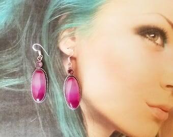gemstone earrings Pink Agate for Agata