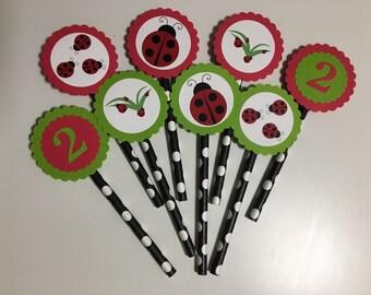 Ladybug Cupcake Toppers, Ladybug Cupcake Picks, Ladybug Birthday, Ladybug Party, Ladybug Theme, Ladybug Tags