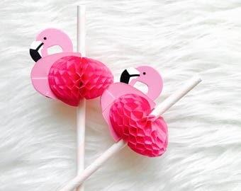 Flamingo Party Paper Straws Set of 12 Baby Pink/ Flamingo Straws/Bachelorette Party Flamingo Decorations/ Flamingo Honeycomb Straws/ Pool P