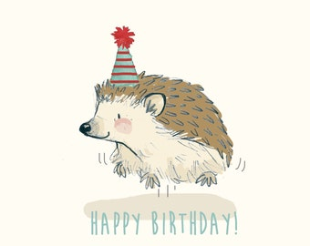 Greetings Card - Happy Birthday Hedgehog