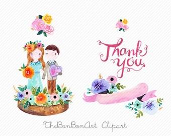watercolor flower clipart. watercolor wedding clipart. wedding Printable. couple clipart. love clipart. Floral Wedding Invitation clipart