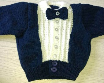 Adorable tuxedo style handknit baby cardigan