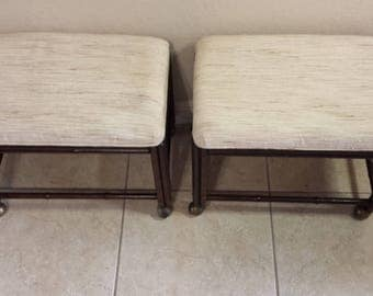 Drexel faux bamboo ottomans/ footstools with casters