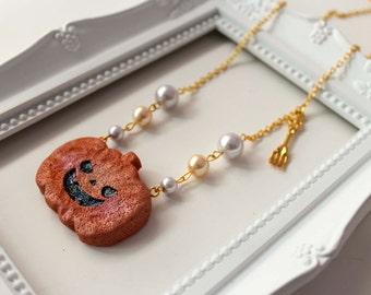 140 Pumpkin King Necklace, Lolita cute kawaii halloween calabaza pearl fork tenedor