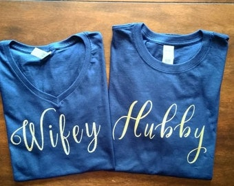 Wifey/Hubby Tee's with Back Design