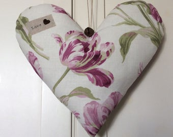 """Handmade Hanging Fabric Heart Decoration ~ Laura Ashley Gosford Berry ~ Finished with the Message """"Love"""""""