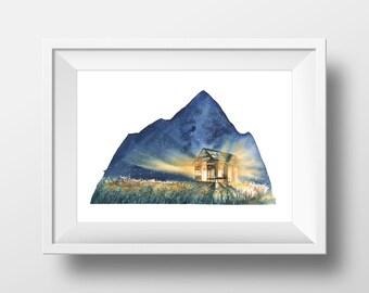 Original Watercolor Painting, Cabin, Aquarelle, Winter, Snow, Mountains, Stars