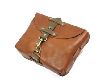 Leather belt bag / hip bag / fanny pack - Steampunk boho natural medieval retro design