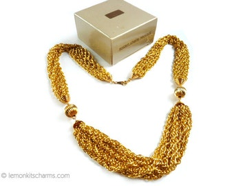 Vintage Avon Goldtone Multichain Necklace, Jewelry 1980s 1990s, Golden Chains, Multistrand, Chunky