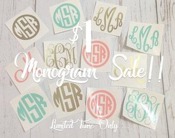 Monogram Sale, Monogram Decal Sale, One Dollar Monogram Sale