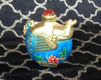 RARE!! Antique Vintage Snuff Bottle with Gold Toned Eagle and Snuff Spoon