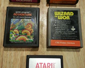 Atari 2600 (5)  Game Bundle - E.T. , Adventure, Dolphin, Wizard of Wor! Original Atari! Retro Video Game Cartridges! Activision