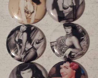 6- 1 inch  Betty Paige Buttons