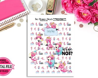 Kawaii Flamingos // That Kind Of Day // Printable Planner Stickers // Wine // Lazy Day // Sad // Selfie // Party // Celebrate