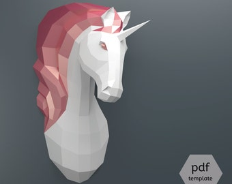 Papercraft Unicorn - Make Your Own Unicorn Trophy from PDF template (Faux Taxidermy Unicorn Paper Kit, DIY Unicorn Trophy, 3D Puzzle)