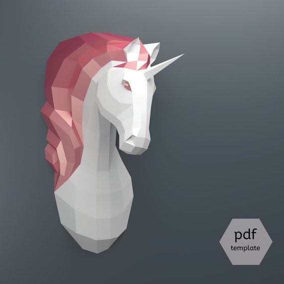 Pdf unicorn pattern papercraft make your own papercraft for Free cardboard taxidermy templates