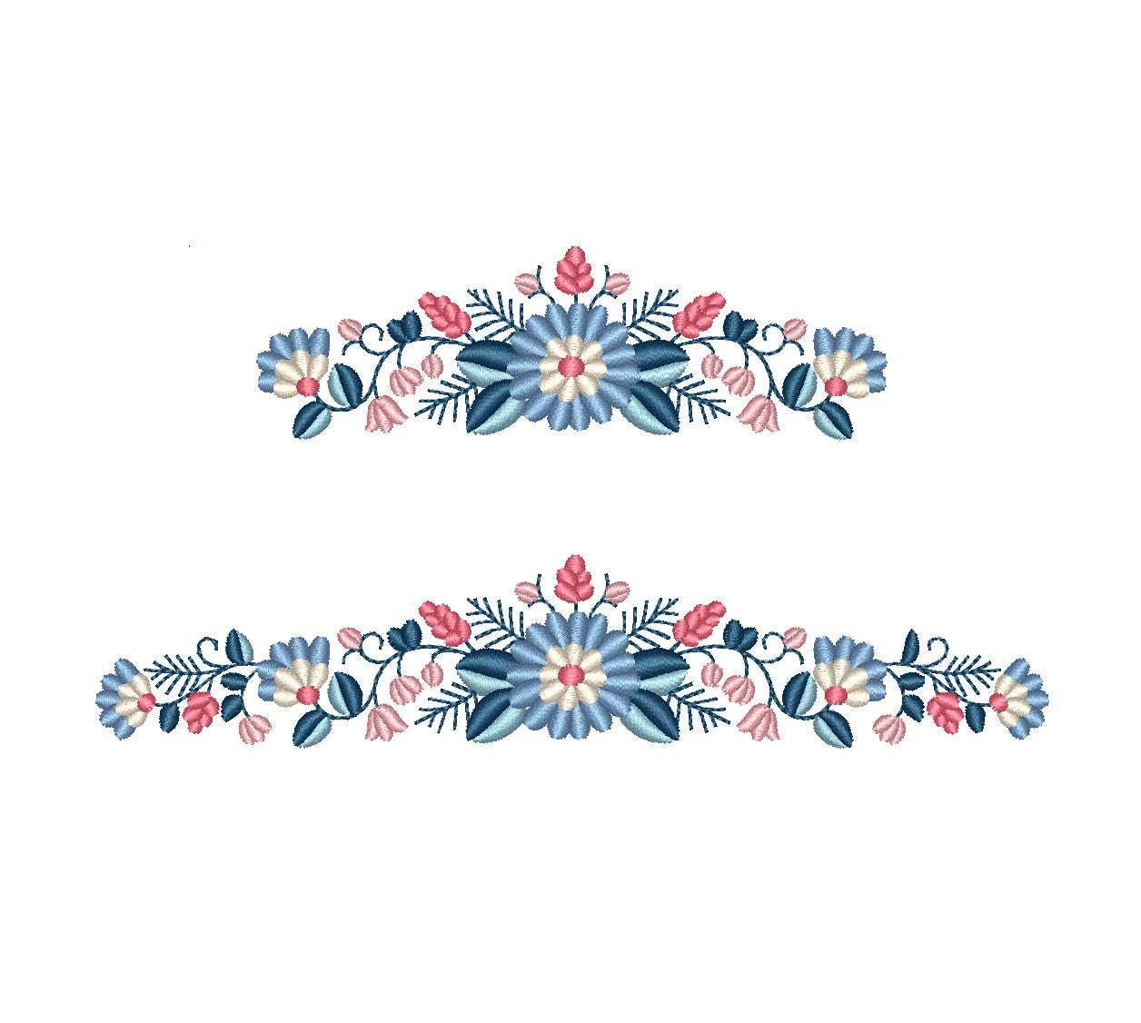 Folk Floral Border Machine Embroidery Design - Boho Flower Border Machine Embroidery File. 2 ...