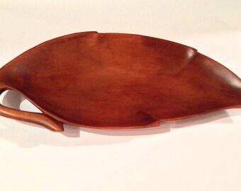 Mid Century Monkey Pod Wood Leaf Tray, Vintage Tray