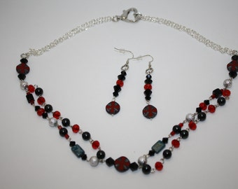 Cross Jewelry Set Handmade Necklace Earrings Czech Glass Cross Black Red Silver Black Pearls Choker Collar Short Necklace