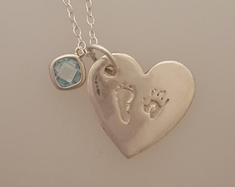 Hand and Footprint Silver Heart Pendant personalised baby keepsake necklace