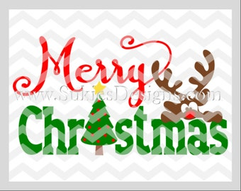 Merry Christmas SVG, DXF, PNG Files for Cricut and Silhouette cutting machines Christmas svg, Reindeer svg file, Christmas svg designs