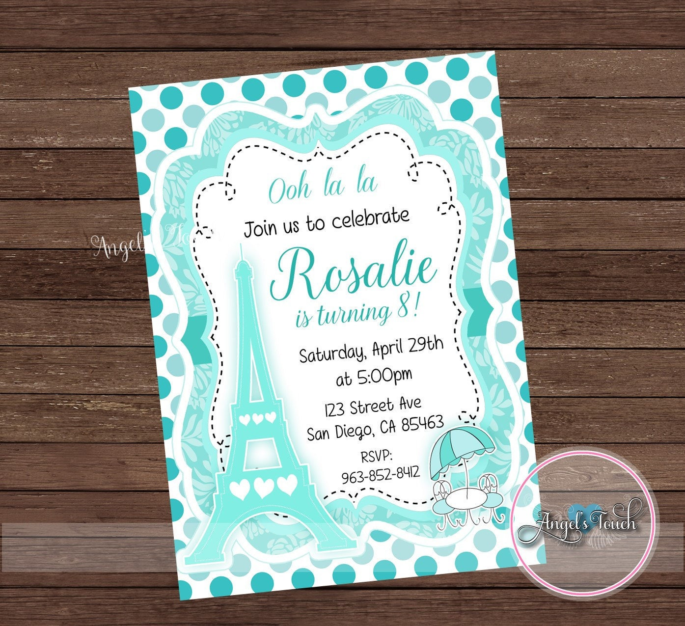 Paris Party Invitation, Paris Turquoise Birthday Party Invitation ...