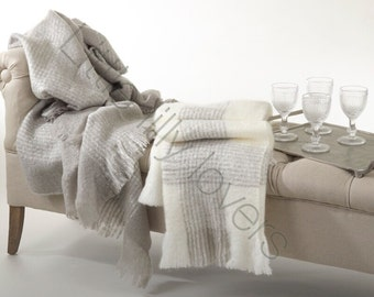 Monogrammed high end ivory and gray faux mohair throw blanket