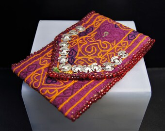 Old Afghan Silk Embroidery, Treasure Pouch, FREE SHIPPING WORLDWIDE