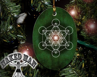 Metatron's Cube Ornament, Sacred Geometry, Mandala Porcelain with Gold Cord